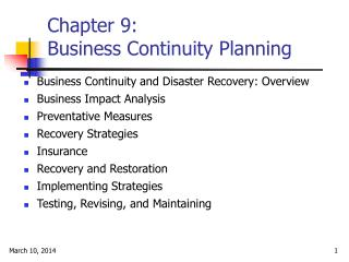 Chapter 9:  Business Continuity Planning