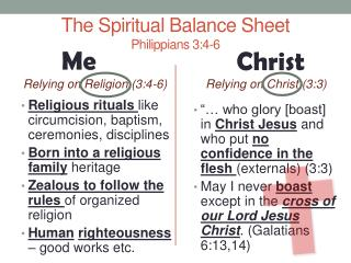 The Spiritual Balance Sheet Philippians 3:4-6