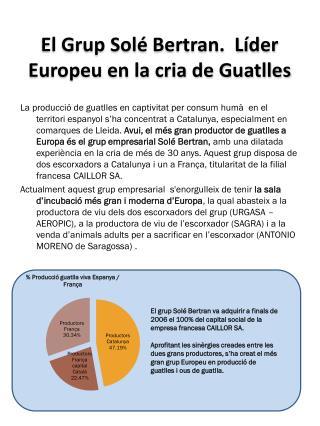El Grup Solé  Bertran.  Líder  Europeu en la cria de Guatlles