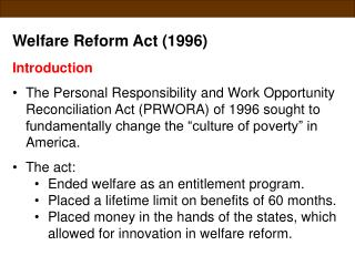 Welfare Reform Act (1996) Introduction