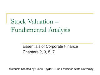 Stock Valuation � Fundamental Analysis