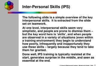 Inter-Personal Skills (IPS)