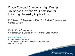 Diode Pumped Cryogenic High Energy Yb -Doped Ceramic YAG Amplifier for Ultra-High Intensity Applications