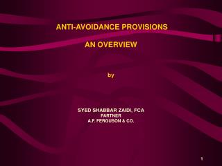 ANTI-AVOIDANCE PROVISIONS AN OVERVIEW   by