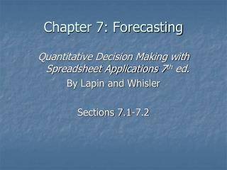 Chapter 7: Forecasting