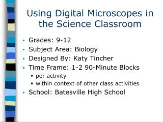 Using Digital Microscopes in the Science Classroom