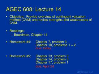 AGEC 608: Lecture 14