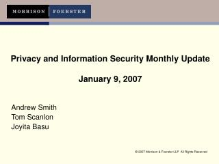 Privacy and Information Security Monthly Update   January 9, 2007
