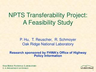 NPTS Transferability Project: A Feasibility Study