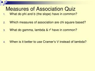 Measures of Association Quiz