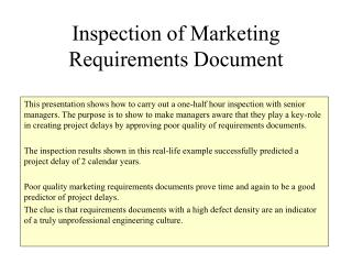 Inspection of Marketing Requirements Document