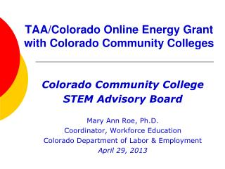 TAA/Colorado Online Energy Grant with Colorado Community Colleges