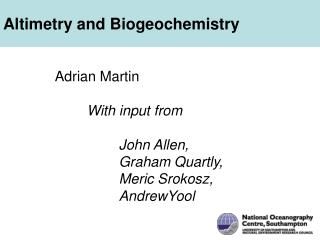 Altimetry and Biogeochemistry