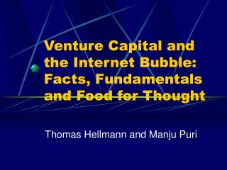 Venture Capital and the Internet Bubble: Facts, Fundamentals and Food for Thought