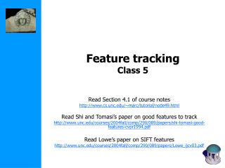 Feature tracking Class 5
