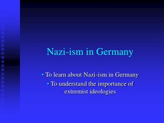 Nazi-ism in Germany