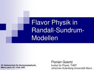 Flavor Physik in Randall-Sundrum-Modellen