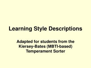 Learning Style Descriptions