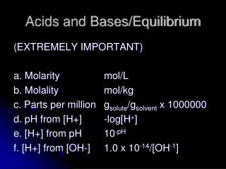 Acids and Bases/Equilibrium