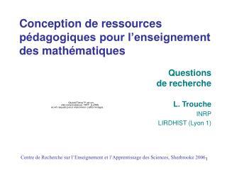 Conception de ressources p dagogiques pour l enseignement des math matiques