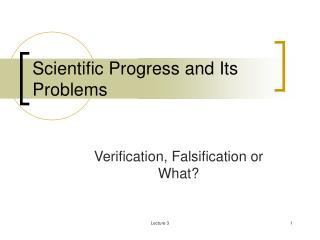 Scientific Progress and Its Problems