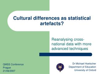Cultural differences as statistical artefacts
