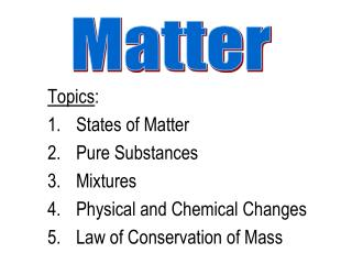 Topics : States of Matter Pure Substances Mixtures Physical and Chemical Changes Law of Conservation of Mass