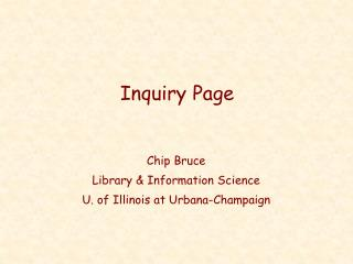 Inquiry Page