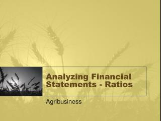 Analyzing Financial Statements - Ratios
