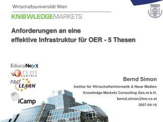 Anforderungen an eine  effektive Infrastruktur f�r OER - 5 Thesen