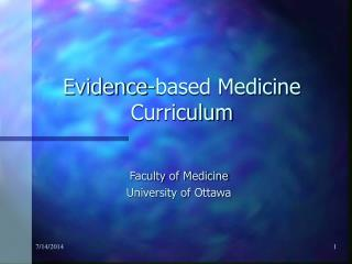 Evidence-based Medicine Curriculum