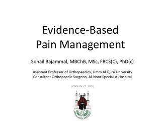 Evidence-Based  Pain Management