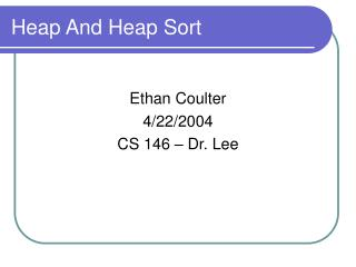 Heap And Heap Sort