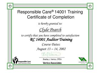 Responsible Care �  14001 Training  Certificate of Completion