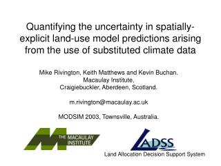 Quantifying the uncertainty in spatially-explicit land-use model predictions arising from the use of substituted climat