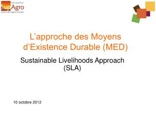 L'approche des Moyens d'Existence Durable (MED)