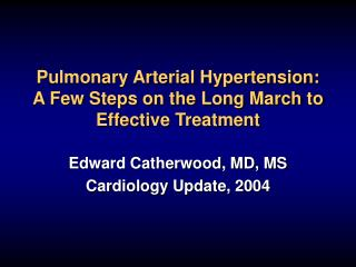 Pulmonary Arterial Hypertension: A Few Steps on the Long March to Effective Treatment