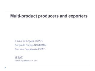 Multi-product producers and exporters