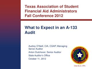 Texas Association of Student Financial Aid Administrators  Fall Conference 2012
