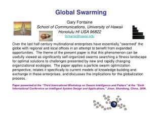 Global Swarming