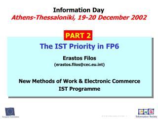 Information Day Athens-Thessaloniki ,  19-20 Dece mber 2002