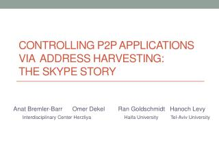 Controlling P2P  Applications via   Address Harvesting :  The  Skype Story