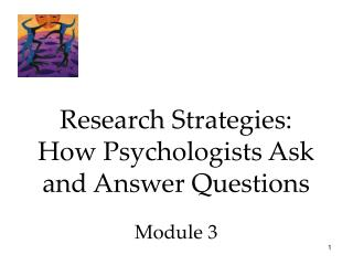 Research Strategies: How Psychologists Ask and Answer Questions Module 3