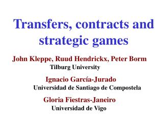 Transfers, contracts and strategic games