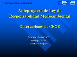 Anteproyecto de Ley de  Responsabilidad Medioambiental Observaciones de CEOE