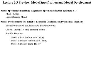 Lecture 3.3 Preview: Model Specification and Model Development