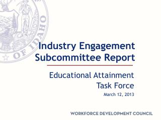 Industry Engagement Subcommittee Report
