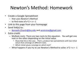 Newton's Method: Homework