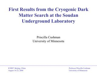 First Results from the Cryogenic Dark Matter Search at the Soudan Underground Laboratory