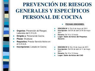 PREVENCIÓN DE RIESGOS GENERALES Y ESPECÍFICOS PERSONAL DE COCINA
